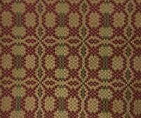 "WOVEN TABLE TOPPER SQUARE Patriot Knot Cranberry Green Tan 34"" Cotton Acrylic"