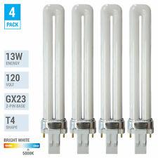4 Pack PL13S PLS13 50 ECO CFL Plug-In 13W Watt T4 Bi 2-Pin GX23 5000K Daylight