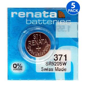 Renata 371 SR920W 1.55V Silver Oxide Watch (5 Batteries) - Made in Switzerland