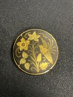 Vintage Gold Tone And Black Round Damascene Bird And Flower Pin Brooch