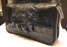 GENUINE CROCODILE WALLETS SKIN LEATHER FOOT TWO ZIPPER WOMEN'S CLUTCH BLACK BAGS