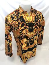 Mens PREMIERE Long Sleeve Button Down Dress Shirt BLACK GOLD LEAF ABSTRACT 508