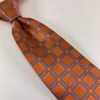 Jos A Bank Exclusive Collection Mens Necktie Orange Geometric Silk 60 X 3 1/2