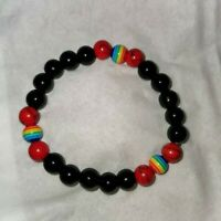 """Pride"" Rainbow round Beads Stretch Bracelet 8mm Handmade"