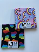 Lot Of 2 Rainbow Hearts/Black, Rainbows/Pink 100% Cotton Fabric- Fat Quarters