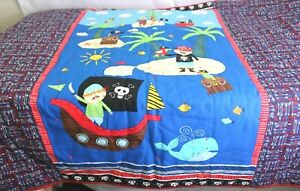"HANDMADE CHILDS QUILT A PIRATE'S LIFE 42"" X 57""  BLUE & RED CRIB CHILD BLANKET"