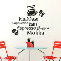 Coffee Cup Cafe Wall Sticker Removable Vinyl Decal Mural DIY Home Art Decoration