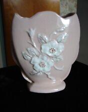 "Vintage 1946 Hull Art Pottery White on Coral Pink Rosella Vase R-5-6½"""