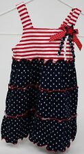 Sophia Rose Blue&  Red with White Stars Sundress Size 12 months NWT