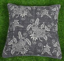 Dari Cushion Cover Handmade Cotton Pillow Cover Home Decor Black Floral Throw