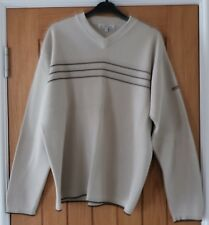 Mens Ben Sherman V Neck 100% Cotton Beige Long Sleeved Jumper - Size M / 2