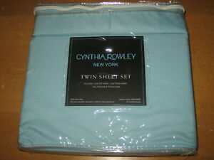 New CYNTHIA ROWLEY 4 Pc 100%  Microfiber Twin Sheet Set Light Blue