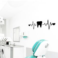 Teeth Dentist Dentistry Heart ECG Vinyl Wall Art Decals Dental Clinic Decoration