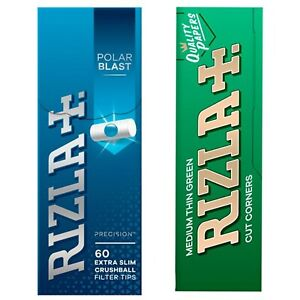 Rizla Polar Blast Extra Slim Filter Tips 5,7mm 60 Tips Per Pack, Green papers