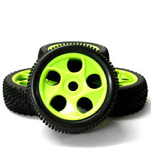180073 1/8 Scale Off Road Buggy RC 5 Holes Wheels and Tyres Green x 4