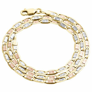 Real 10K Tri-Tone Gold Solid Valentino Link Chain 3.25mm Necklace 16 - 24 Inches