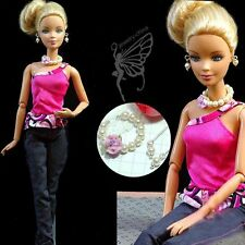 Barbie doll clothes dress and handmade jewelry set for barbie dolls 08
