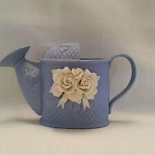 Vintage Metal Blue Watering Can w/ White Roses on Front Unmarked Excel Cond