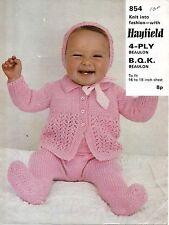 "Hayfield 854 Vintage Baby Knitting Pattern 16-18"" Pram Set Bonnet Cardi 4 ply/QK"