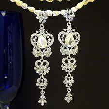 White K Plated Butterfly Elegant Silver Austrian Crystal Bridal Earrings ED1040