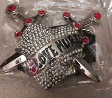 Love Hurts Heart Daggers Bling Red Silver Tone New Belt Buckle