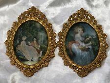 Pair Fine Vintage Gilt Ormolu Italian Embroidery Romantic Scene Picture Plaques