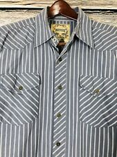 Modern Culture Men's Shirt Long Sleeve Button Front Crest Design Blue Size Large