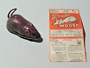 Vintage Wonder Mouse Wilson Products Tin Friction Toy Mouse Non Working