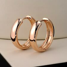 Women's Smooth Hoop Earrings 18k Yellow Gold Filled 21MM Fashion Jewelry