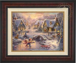 Thomas Kinkade Mickey and Minnie Sweetheart Holiday 18 x 24 LE S/N Canvas Framed