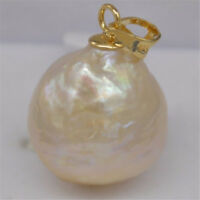 REAL teardrop AAA++ Gorgeous 13-15MM pink BAROQUE PEARL pendant 14K gold plating