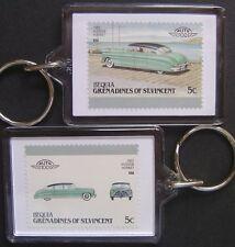 1952 HUDSON HORNET Car Stamp Keyring (Auto 100 Automobile)