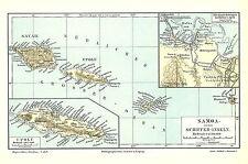 M4 Alte Landkarte 1890 Samoa oder Schiffer-Inseln Savaii Upolu Tutuila Apia