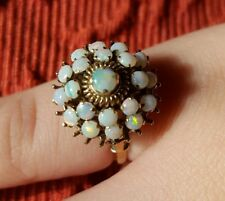 18K Solid Gold & 21 Natural Opals Cluster Dome Ring, Heavy Setting