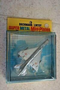 LINTOY BACHMANN SILVER MIKOYAN MIG-21 P.F. JET AIRPLANE W/ BOX Vintage