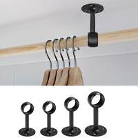 Ceiling-Mount Clothes Hanging Rail Holder Curtain Rod Bracket Wardrobe Tube