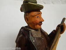 Vtg Italian Anri Hand Carved & Painted Hunter Sculpture With Gun And Rabbit