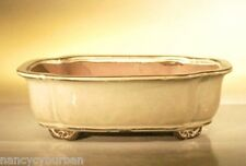 "Ceramic Bonsai Pot Rectangular Beige Glazed Bonsai Pot w/ Lip 10"" x 8"" x 3.125"""
