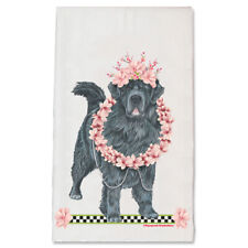 Newfoundland Newfie Dog Floral Kitchen Dish Towel Pet Gift