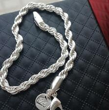 Men Women's 925 Silver Twisted Cable Wire Bracelet Chain Bangle Fashion Jewelry