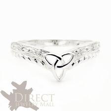 9ct REAL White GOLD GENUINE DIAMOND Celtic Trinity Wishbone Wedding Ring SIZE