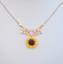 Fashion Sunflower Pearl Pendant Necklace Choker Long Chain Women Jewelry Gifts