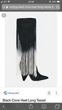 NEW MISSGUIDED BLACK TASSEL BOOTS SIZE 4 RRP: £60