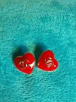 STAMPED VINTAGE CHANEL BUTTONS LOT OF 2  Red & Gold