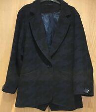 New Look Jacket Size 12 Black & Blue Wool Blend Coat Blazer Houndstooth Navy