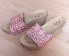 JOY & PEACE PINK BROWN FUR MULES SLIPON SUMMER SHOES WEDGE SANDALS​ SIZE UK 2 35
