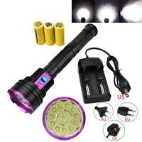 Scuba Diving Flashlight 12x T6 LED 3X18650/26650 30000LM Torch Underwater 200m