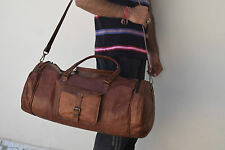 """23"""" Real Leather Hold-All Bag Duffle Bag Sports Gym Bag Weekend Travel Luggage"""