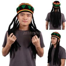 Men JAMAICAN RASTA HAT Dreadlocks Wig Bob Marley Caribbean Fancy Party Props