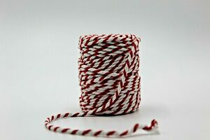 Bakers Twine, Red & White, 5mm, Chunky, Packaging, Gift Wrap, Craft, Per Meter